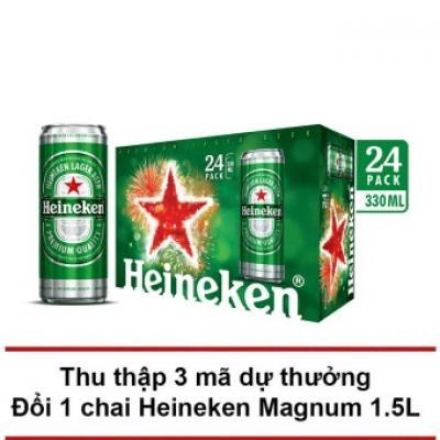 Thùng 24 lon bia Heineken Sleek 330ml
